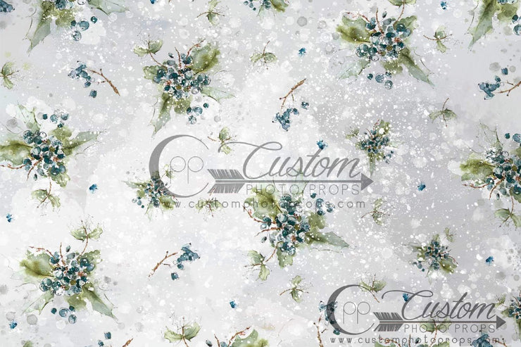 photography backdrop with little blue floral buds in bouquets. great for newborn or baby girl photos