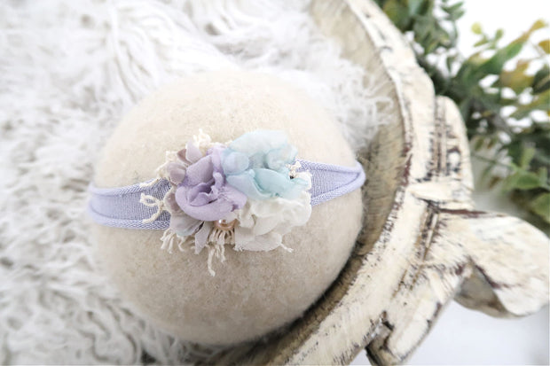 lavender purple, ivory, white, mint green newborn baby headband with lace and pearl