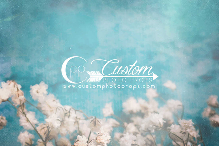 turquoise blue and with flowers photography backdrop