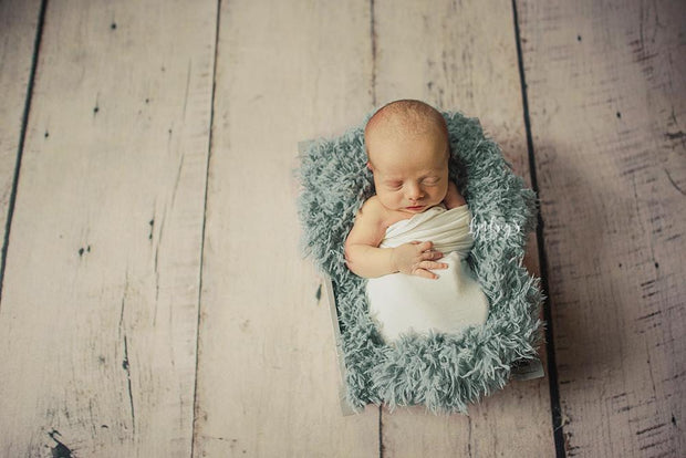newborn on blue faux fur  by custom photo props. Ships from Buffalo  New York