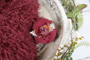 red wavy faux fur photography prop fabric, swaddling wrap and flower headband