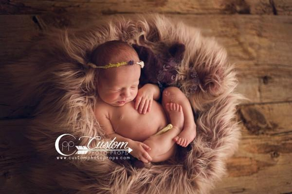 Two tone, long newborn faux fur fabric photography prop with baby girl and mini bear