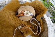 newborn baby photography prop set with matching pieces, headbands, rabbit fur pelt and swaddle wrap