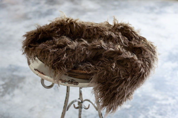 Medium Brown faux flokati newborn fur photography props for boys or girls