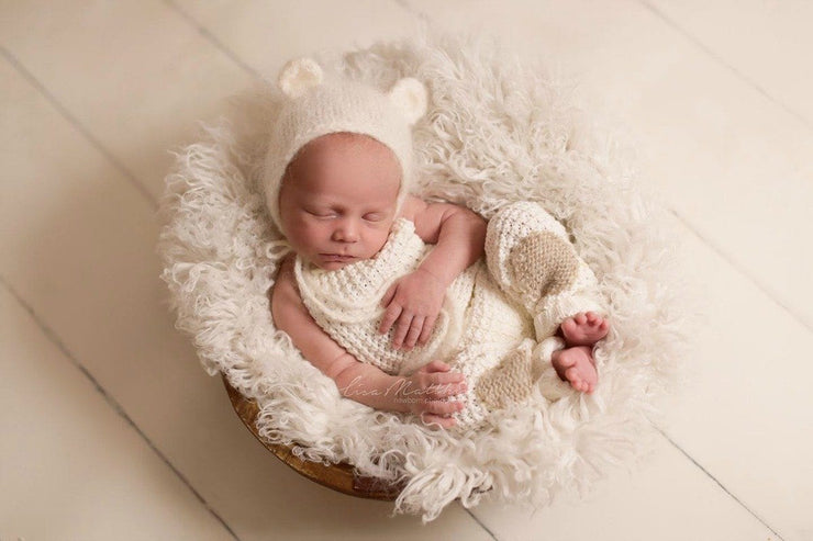 Coconut White Faukati™ Fur Newborn Photography Props white fur puppy