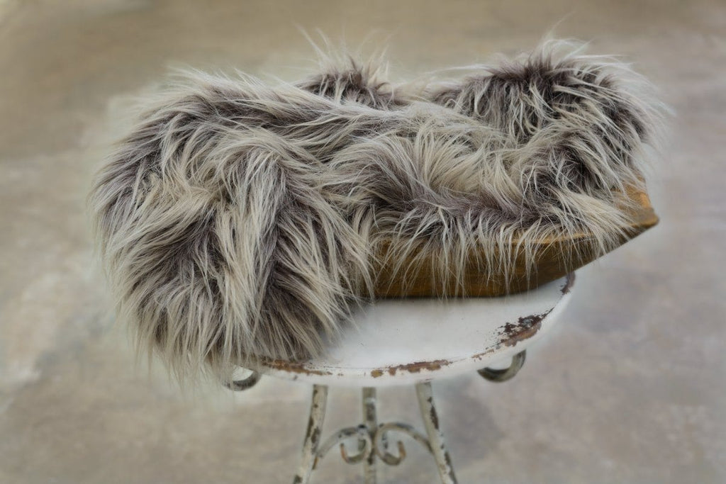 Cola Brown/Gray Ombre Vegan Sheepskin Fur - 3 Size Options