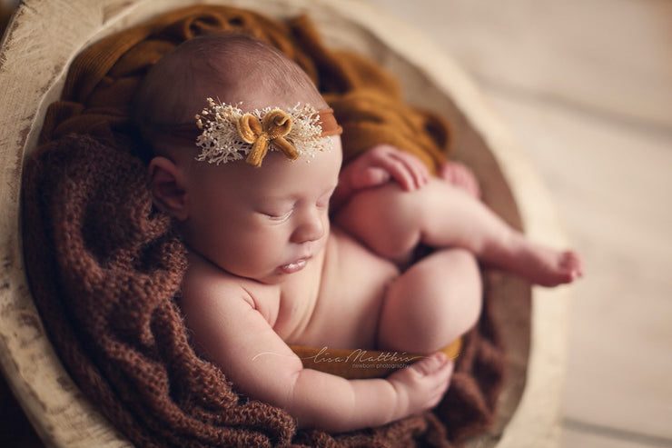 newborn baby girl copper velvet bow headband photography prop