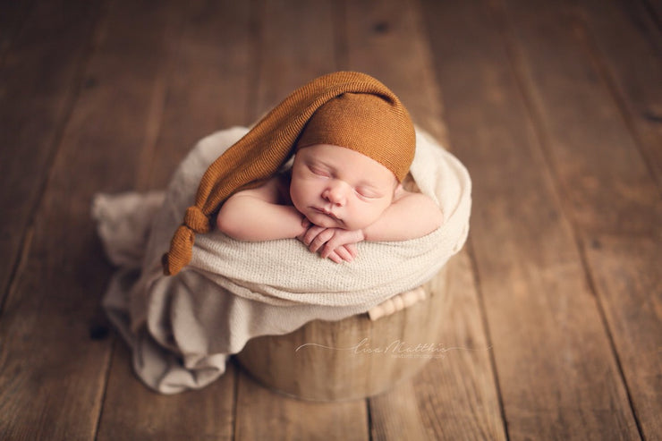 copper or rust orange newborn baby boy sleepy hat for newborn baby boy by custom photo props