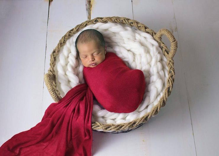 Luxury Red Newborn Baby Wrap Photo Prop