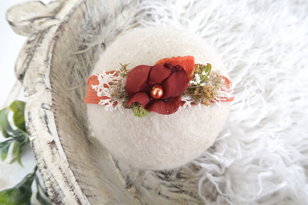deep orange newborn baby girl flower headband with dried flowers, moss and lace. newborn photography prop