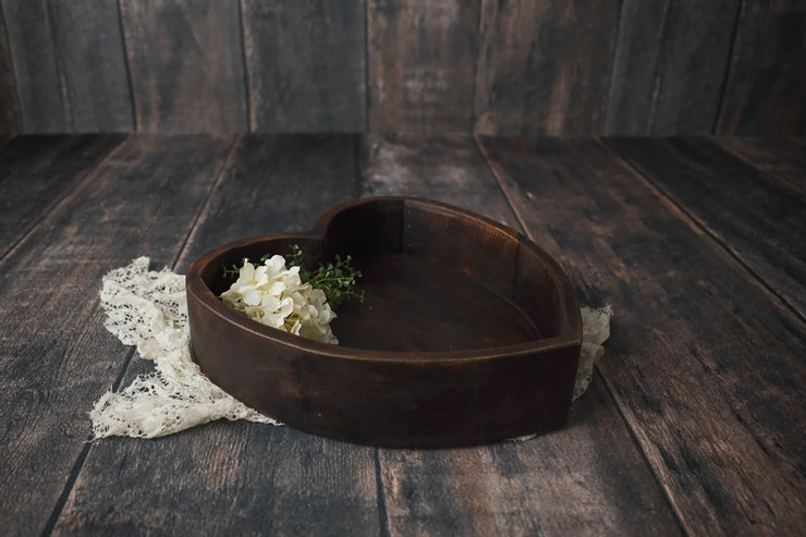 dark stained large wooden heart bowl baby photography prop for home decor for girls room