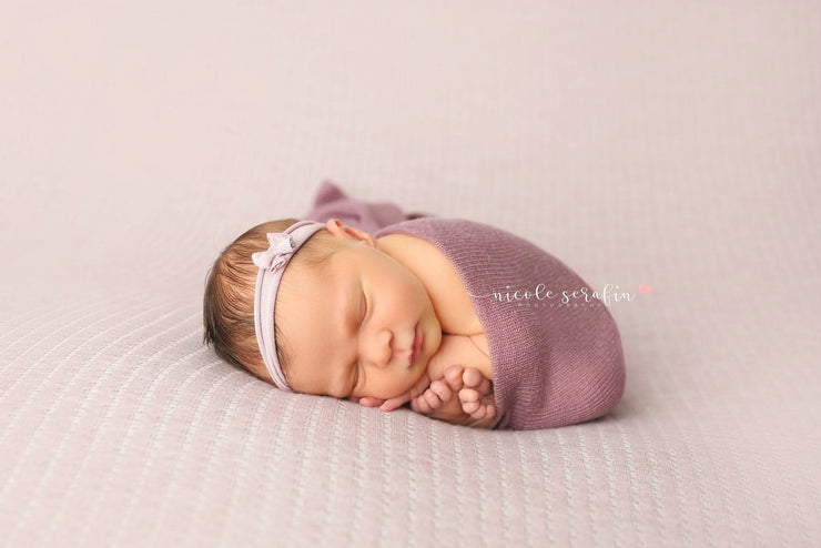 dusty purple newborn baby stretch swaddle wrap