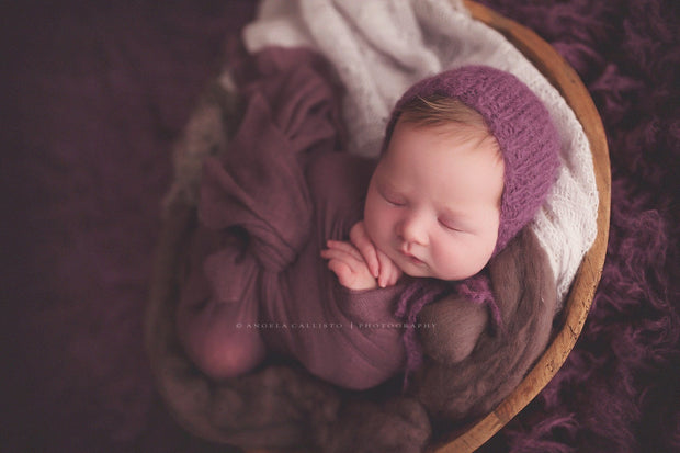 baby in purple wrap photo prop