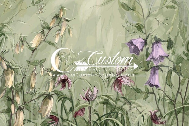 This feminine floral daylily photo backdrop is great for photographing little girls. It's painted in earthy green, yellow, pink and purple tones.