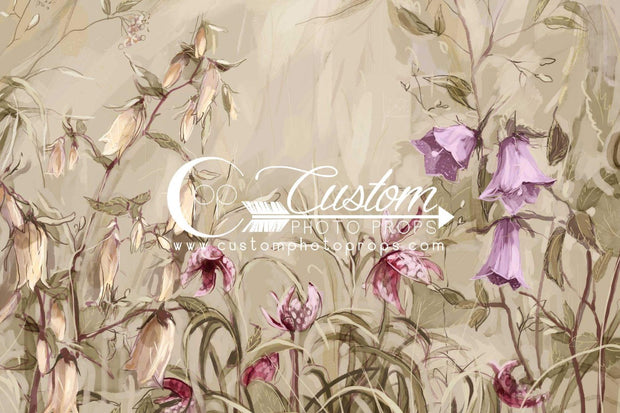 This feminine floral daylily photo backdrop is great for photographing little girls. It's painted in earthy green, khaki and purple tones.