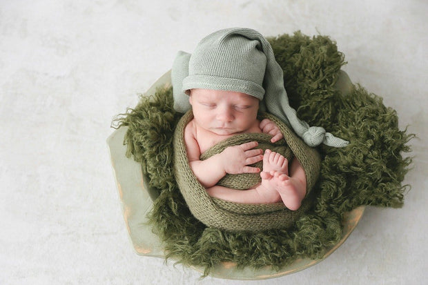 dark green curly or wavy fake sheepskin newborn photo props