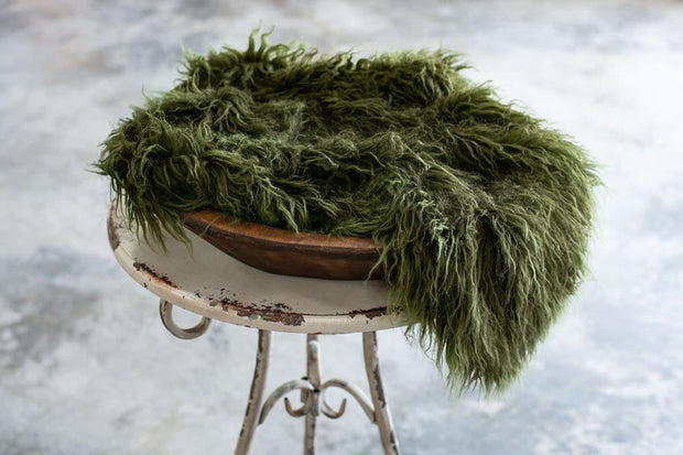 Dark green faux flokati newborn fur photography props for boys or girls