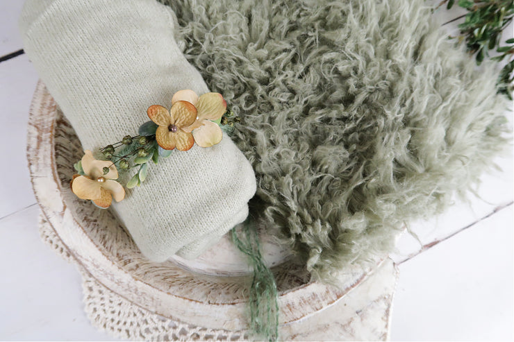 sage green faux flokati fur, fuzzy sweater wrap and flower halo for newborn baby pictures