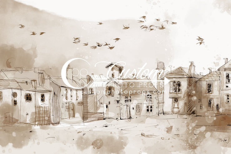 hand drawn little village. looks like it's from early 1900's photograpy backdrop in watercolor