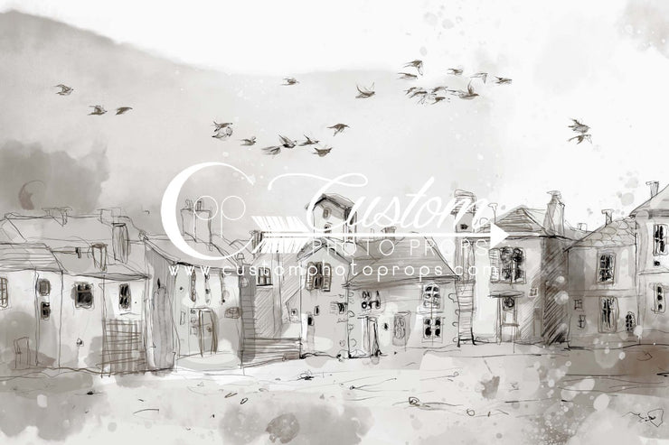 gray sketched watercolor small town with flying birds backdrop by custom photo props