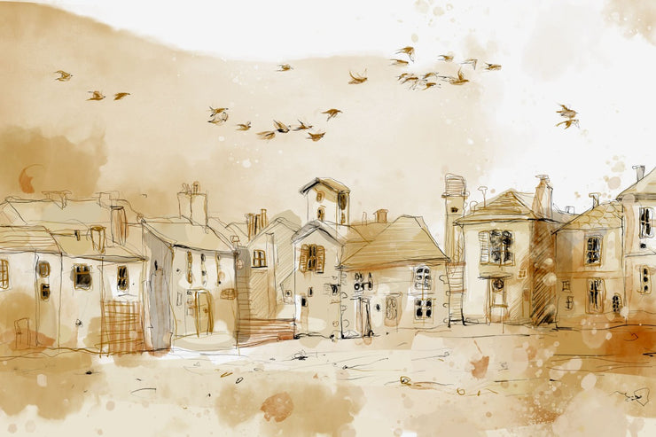 tan sketch of small town with pebble ground, birds flying. photography backdrop