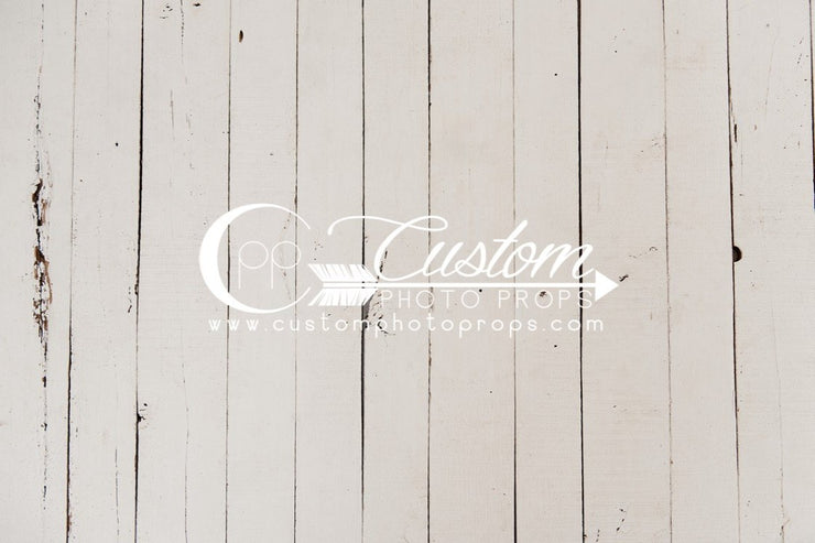 distressed, white painted fake wood flooring backdrop for photo studio sessions