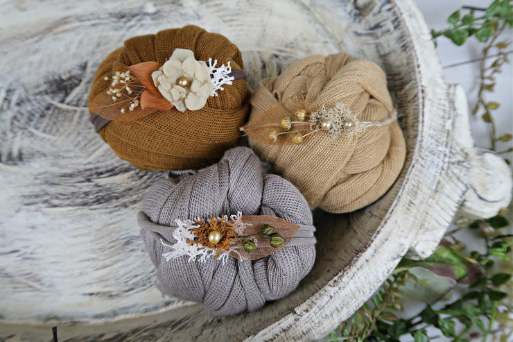 natural and organic brown, copper, tan newborn baby prop sets for baby boys and girls