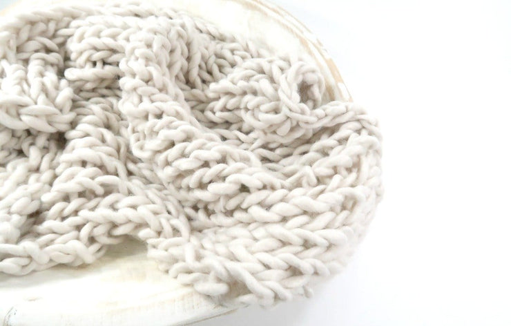 light cream, hand knit, chunky yarn newborn baby photography prop blanket