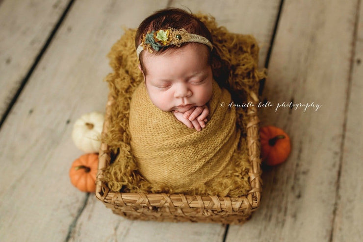 curly faux wool fur newborn baby girl photo prop in mustard yellow