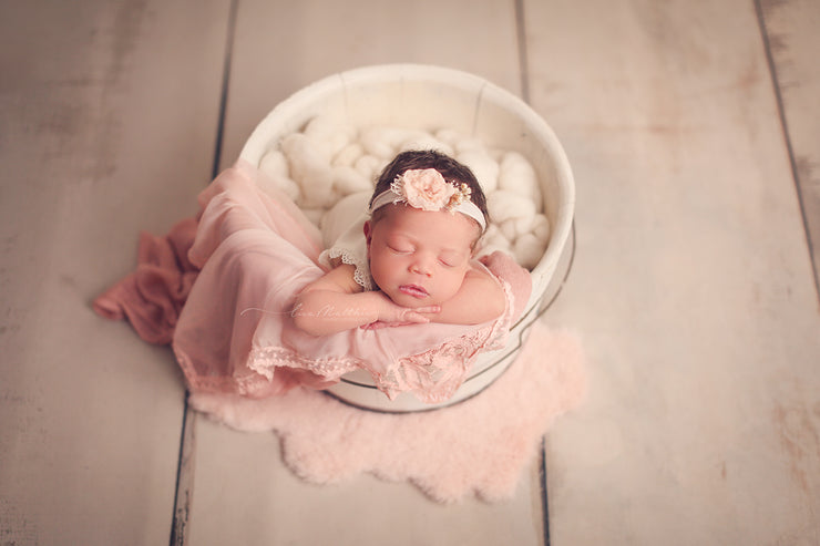 matching peach newborn baby girl photo prop set.