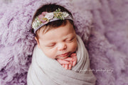 soft fuzzy, light purple newborn baby girl swaddling wrap