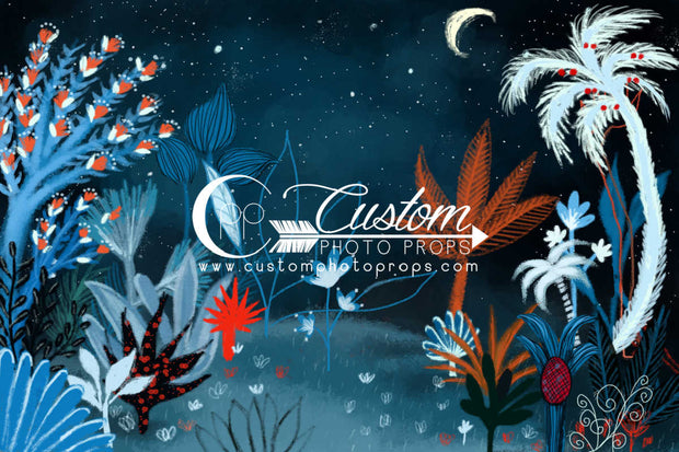 blue, orange, white, red hand drawn kids cartoon jungle backdrop by CPP Drops