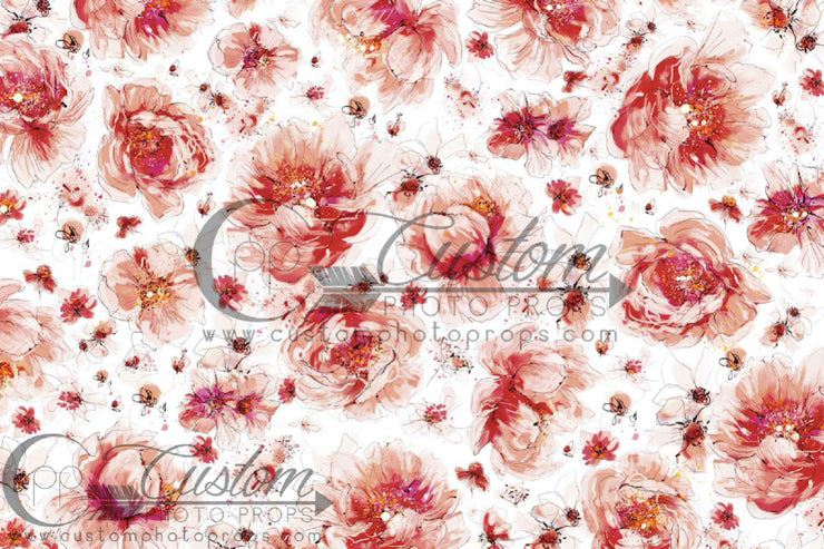 large pink and white flower backdrop for photography studios