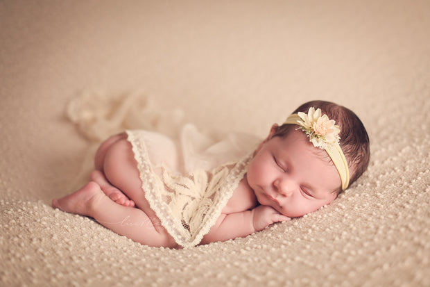 silky satin, lace, newborn baby layering fabric photo prop on baby girl in ivory or yellow