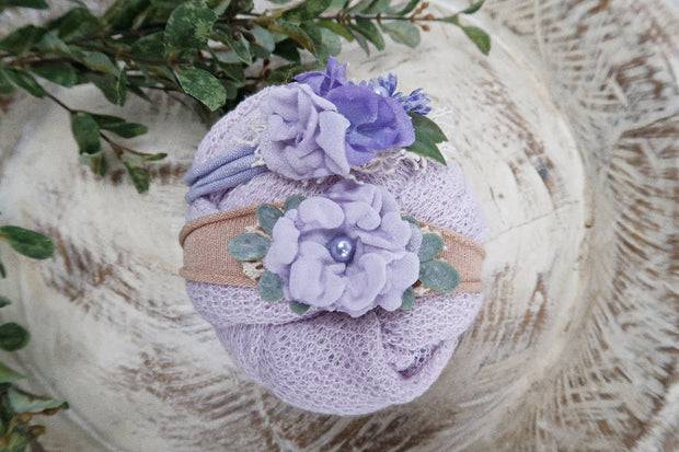 light purple newborn baby girl photo prop set with matching headbands and wrap