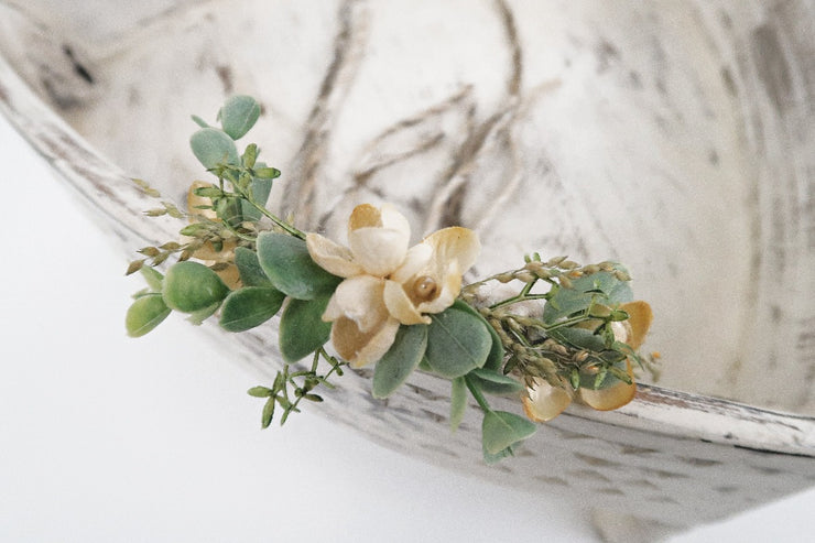 beautiful whimsy newborn baby girl halo photography prop with little yellow flowers