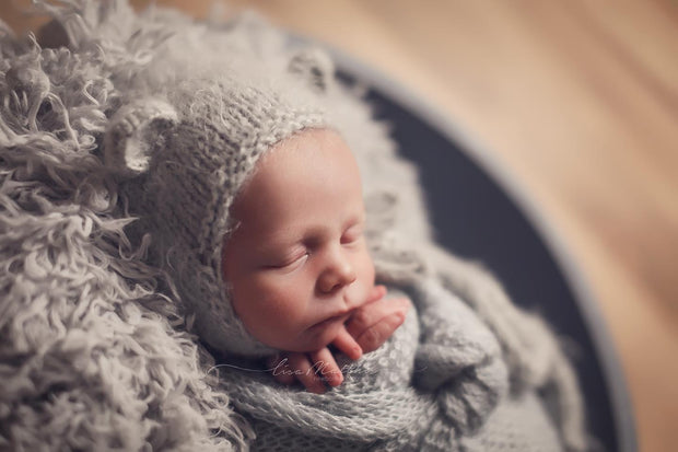 Koala Soft Gray Newborn Baby Faux Fur Photography Prop with baby boy