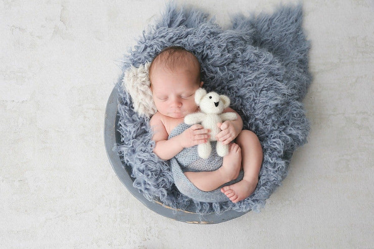 miniature newborn or doll faux fur pillow photography prop