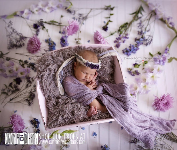 Limestone Gray/Brown Newborn Baby Faux Fur Photo Prop