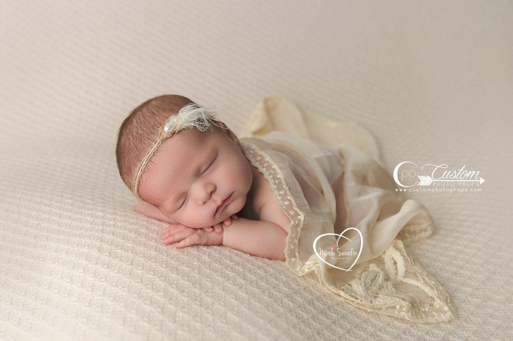 Demure Vintage Lace Silk Layer Newborn Baby Photo Prop