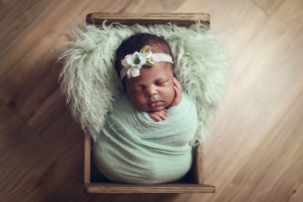 mint green baby wrap photo prop