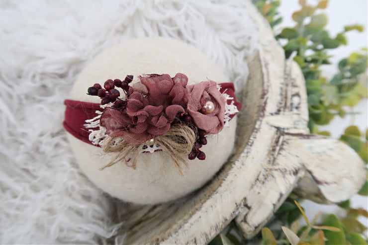 burgundy and mauve plus white lace newborn baby girl headband photography prop by custom photo props
