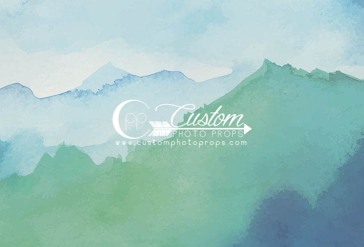 blue and green watercolor mountain backdrop photography prop for portraits by custom photo props