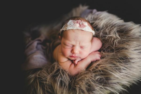 Gray/Brown Mousse Newborn Faux Fur Photo Prop