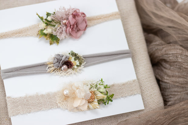neutral newborn baby girl floral headband photo props