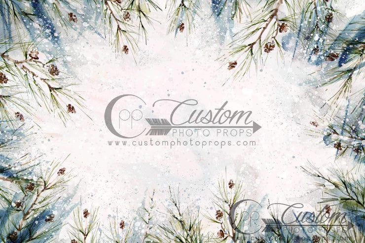 painted newborn and baby photo backdrop with pine needles and cones