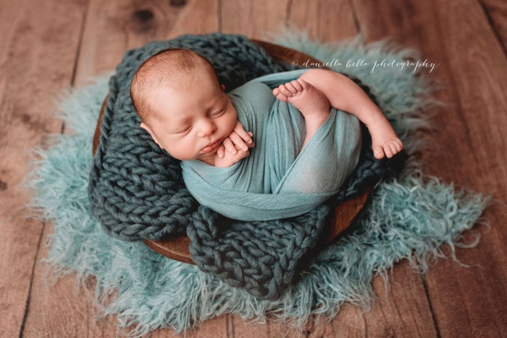 greenish blue, chunky knit, small newborn posing blanket photography prop