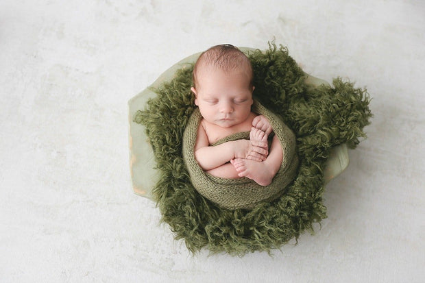 dark green faux flokati newborn fur photography prop. faukati by custom photo props