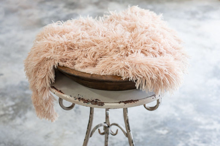 light peach, super soft, faux fur photography props for girls