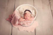 small matching peach and pink newborn baby girl photography prop set with flower headband, lace layer and fur